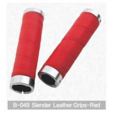 Грипсы для руля Kivi, Slender Leather, красный, B-049
