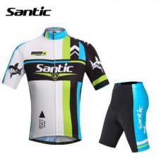 Велокомплект Santic, короткий рукав, размер L, черный/белый/голубой, WMCT047VERL