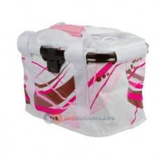Сумка на руль велосипедная M-WAVE, складная, алюминиевый каркас, V=20л быстросъемная, бело-розовая,