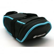 Велосумка под седло KELLYS GRADE, объем 0.4л, крепление с помощью ремешка, чёрная с голубой полоской